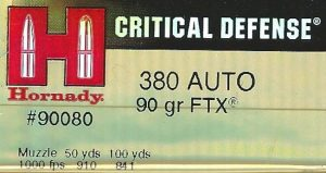 Hornady 380 auto Critical Defense