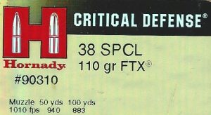 Hornady 38 spcl Critical Defense