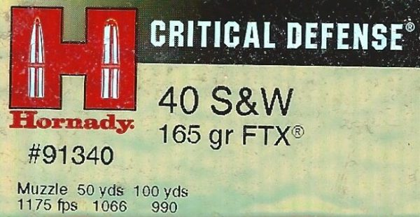 Hornady 40 S&W Critical Defense