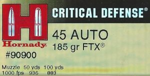 Hornady 45 auto Critical Defense