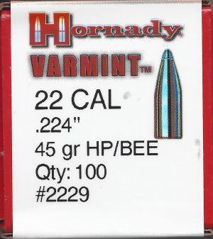 Hornady 22 Cal 45 gr. HP Jacketed Rifle Bullet