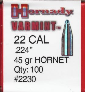 Hornady 22 Cal 45 gr. SP Jacketed Rifle Bullet